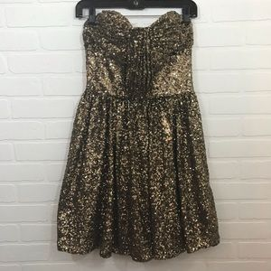 Jill Jill Stuart Gold Sequin Party Dress Sz 2